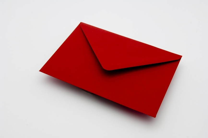 crimson greetings card envelope
