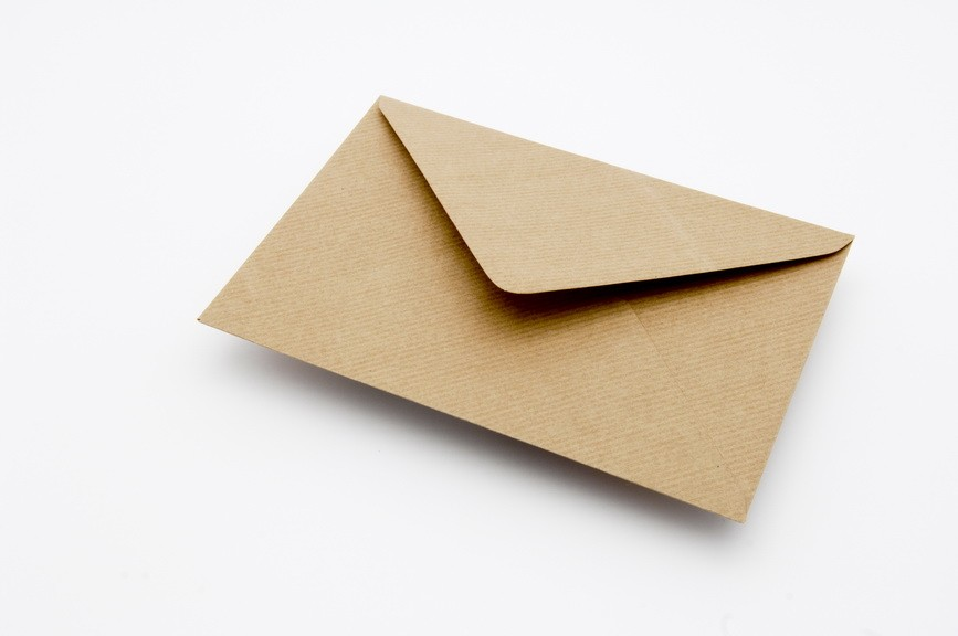 BROWN RIBBED greetings card envelope