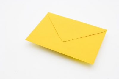 canary yellow greetings card envelope