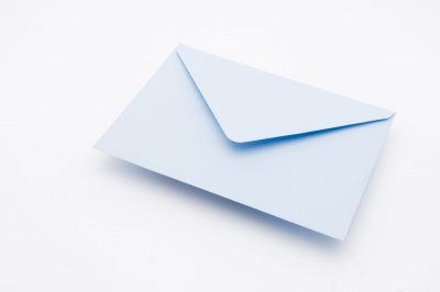 Soft Blue greetings card envelope
