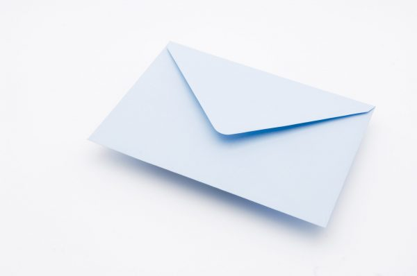 Soft Blue greetings card envelope