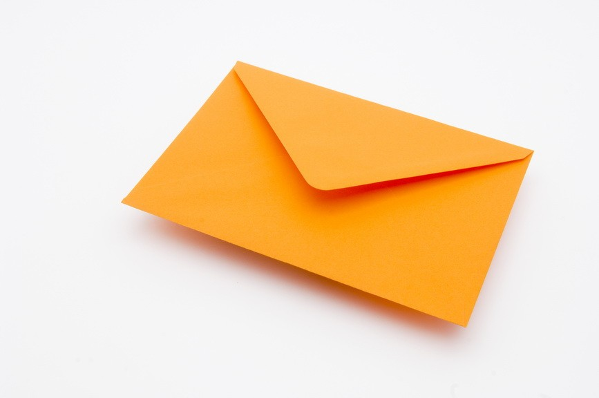 orange greetings card envelope