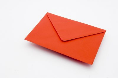 poppy red greetings card envelope
