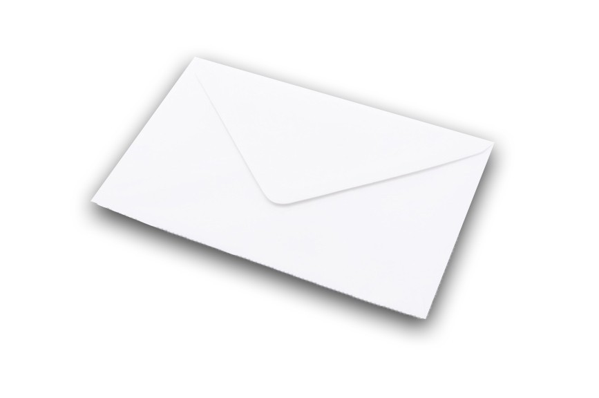 white greetings card envelope