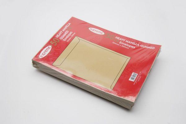 manilla heavey weight gummed envelope