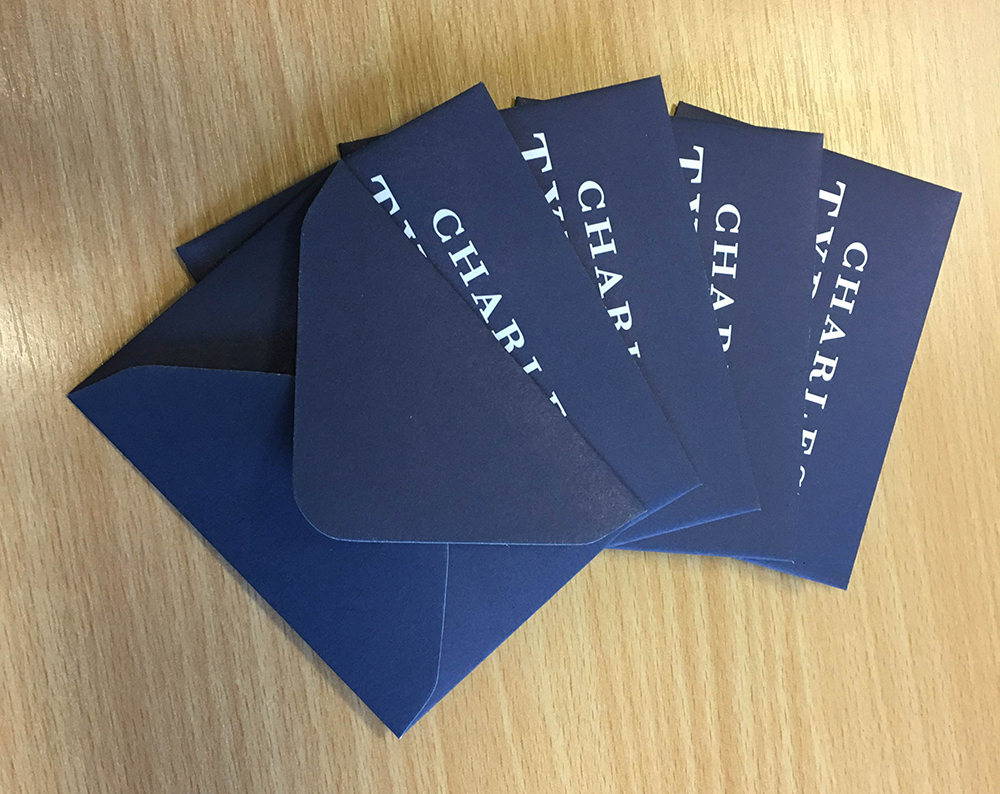 small blue envelopes Charles Tyrwhitt