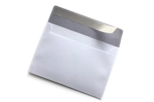 peel and seal white envelope