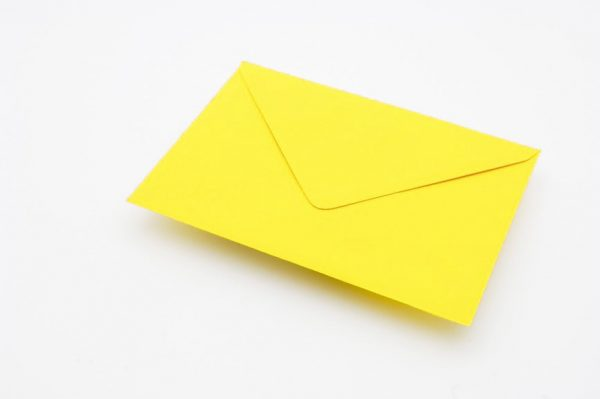 lemon yellow greetings card envelope