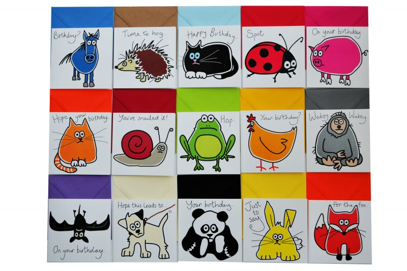 Animal Greetings Cards and Coloured envelopes
